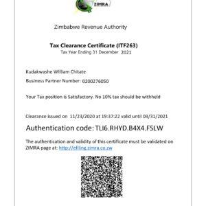 KUDAKWASHE WILLIAM CHITATE TAX CLEARANCE-1